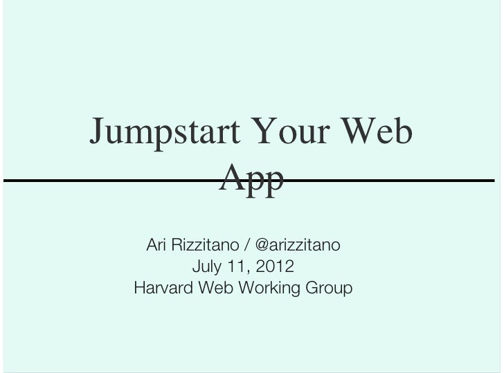 Jumpstart Your Web App