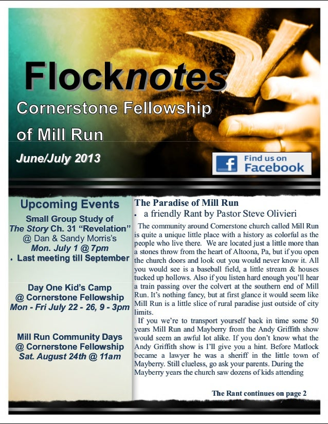 FlockFlocknotesnotes Cornerstone Fellowship of Mill Run June/July 2013June/July 2013 The Paradise of Mill RunThe Paradise ...