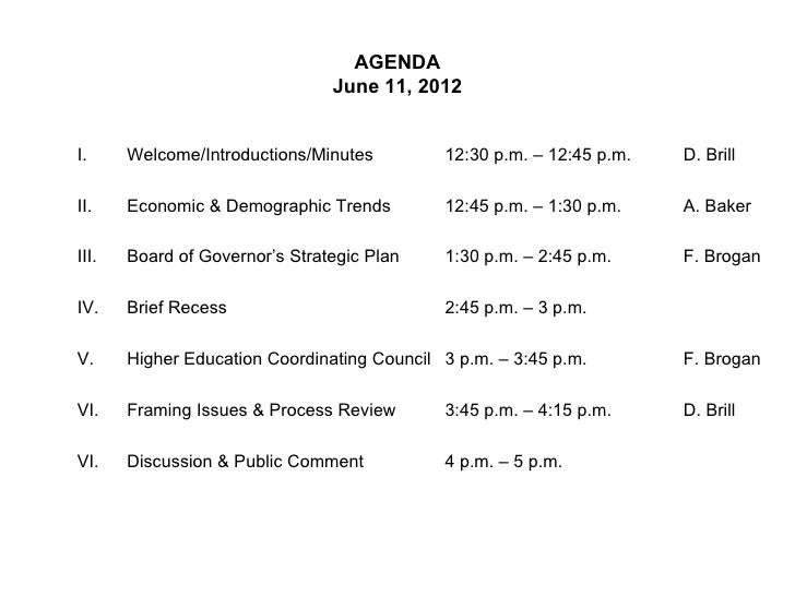 AGENDA                                June 11, 2012I.     Welcome/Introductions/Minutes         12:30 p.m. – 12:45 p.m.   ...