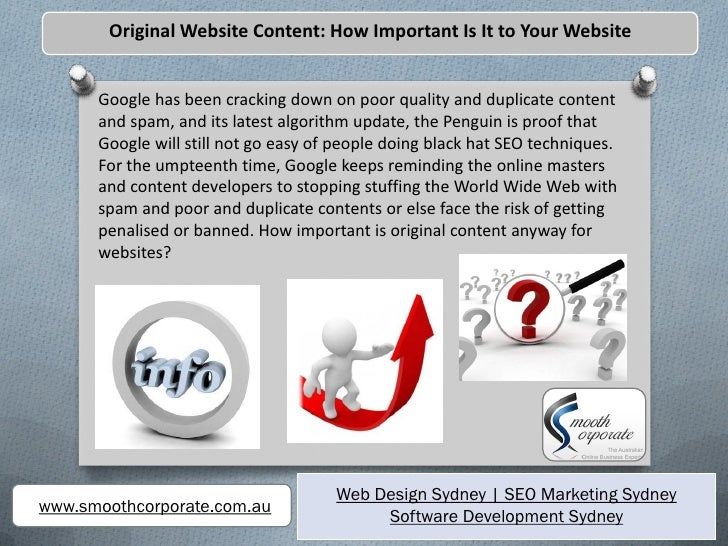Original Website Content: How Important Is It to Your Website      Google has been cracking down on poor quality and dupli...