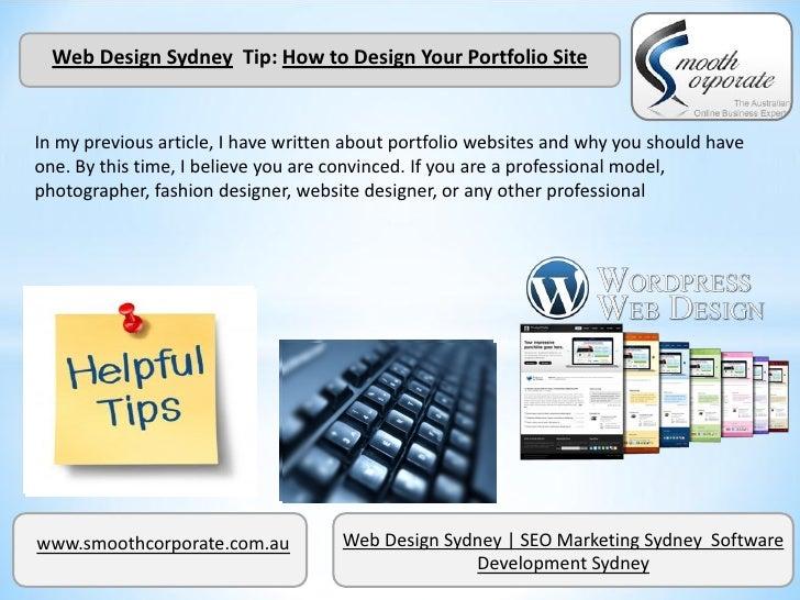 Web Design Sydney  Tip: How to Design Your Portfolio Site