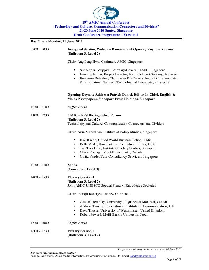 """19th AMIC Annual Conference                 """"Technology and Culture: Communication Connectors and Dividers""""               ..."""