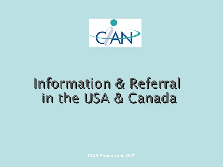 Information & Referral  in the USA & Canada