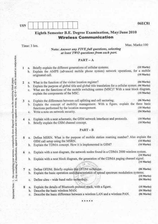 06fc8l               Eighth SemesterB.E. Degree ExamiDation, May/Jutr€ 2010                                   wireless Gom...