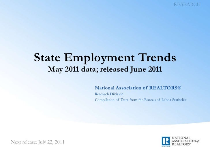 State Employment Trends May 2011 data; released June 2011 National Association of REALTORS® Research Division Compilation ...
