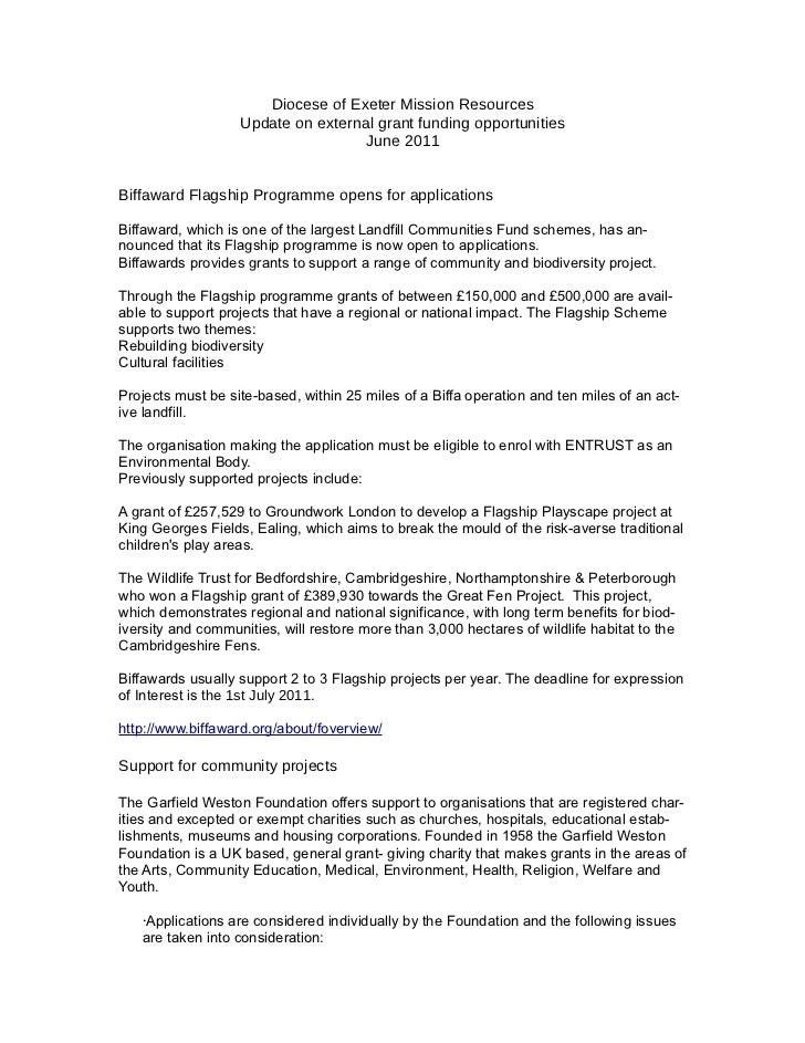 Diocese of Exeter Mission Resources                   Update on external grant funding opportunities                      ...