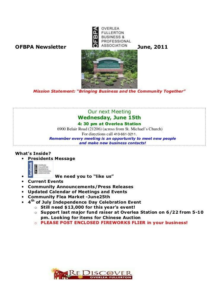 June 2011 newsletter ofbpa