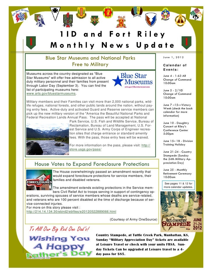1ID and For t Riley                    Monthly News Update                Blue Star Museums and National Parks            ...