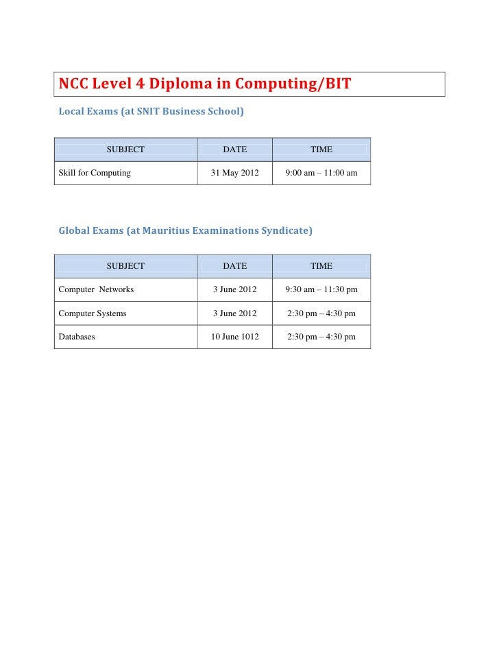 June 2012 exams timetable l4 and l5 diploma(2)