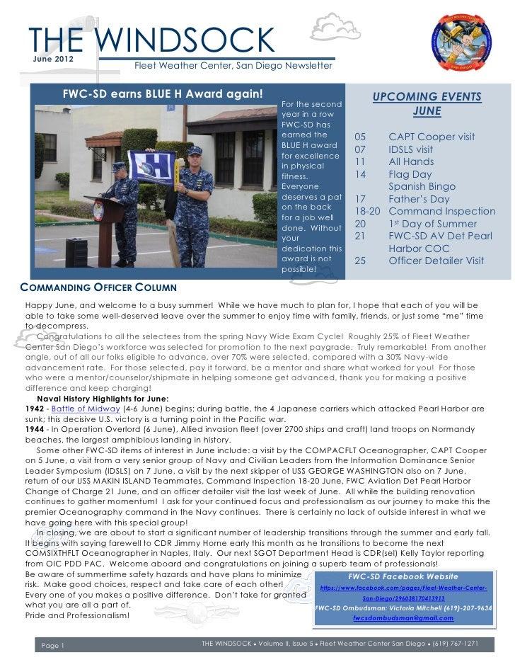 THE WINDSOCK  June 2012                             Fleet Weather Center, San Diego Newsletter          FWC-SD earns BLUE ...
