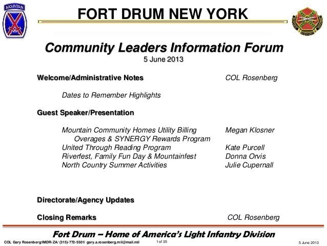 5 June 2013FORT DRUM NEW YORKCOL Gary Rosenberg/IMDR-ZA/ (315)-772-5501/ gary.a.rosenberg.mil@mail.mil 1 of 35Fort Drum – ...