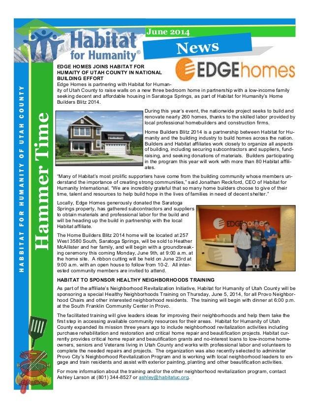 HammerTime HABBITATFORHUMANITYOFUTAHCOUNTY June 2014 EDGE HOMES JOINS HABITAT FOR HUMAITY OF UTAH COUNTY IN NATIONAL BUILD...