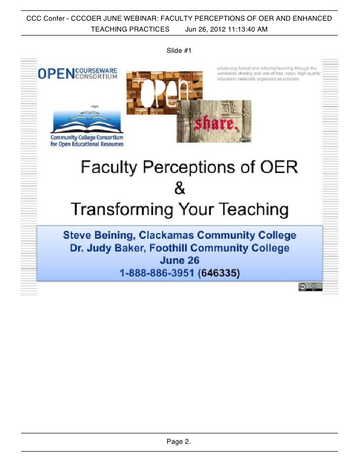 CCC Confer - CCCOER JUNE WEBINAR: FACULTY PERCEPTIONS OF OER AND ENHANCED                 TEACHING PRACTICES    Jun 26, 20...