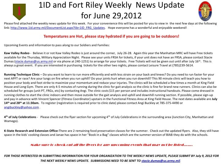 1ID and Fort Riley Weekly News Update                                    for June 29,2012Please find attached the weekly n...