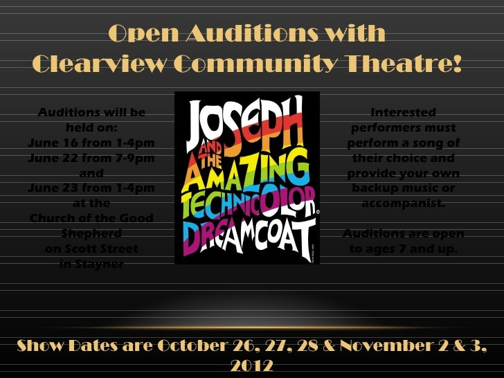 Open Auditions with Clearview Community Theatre!  Auditions will be                    Interested       held on:          ...