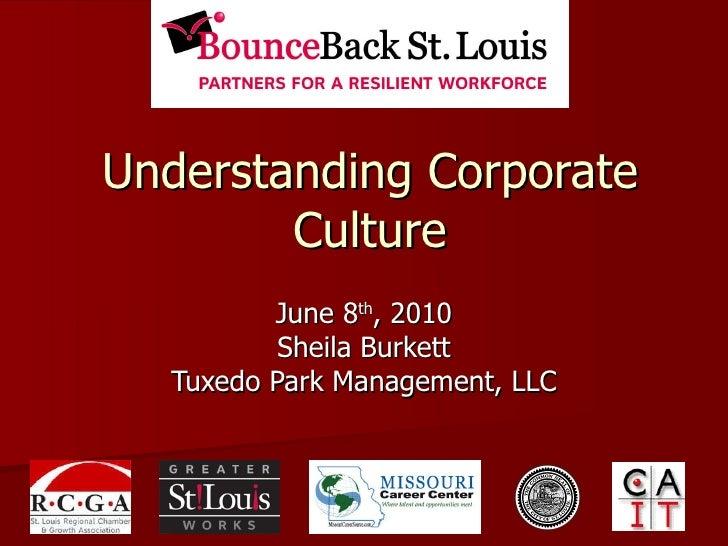 Understanding Corporate Culture June 8 th , 2010 Sheila Burkett Tuxedo Park Management, LLC