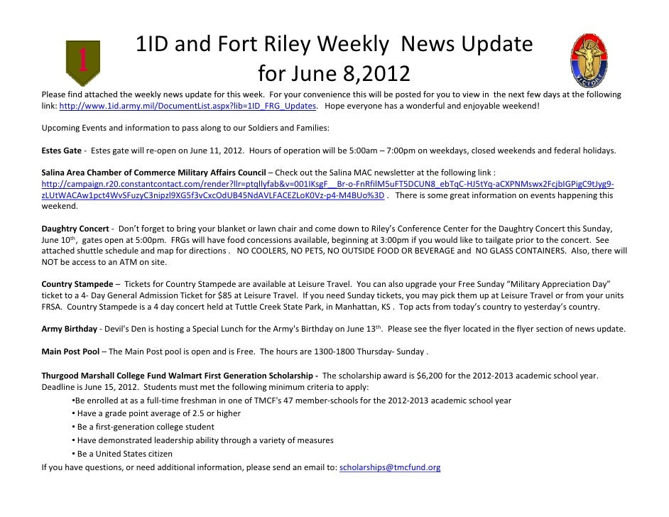 1ID and Fort Riley Weekly  News Update                                     for June 8,2012Please find attached the weekly ...