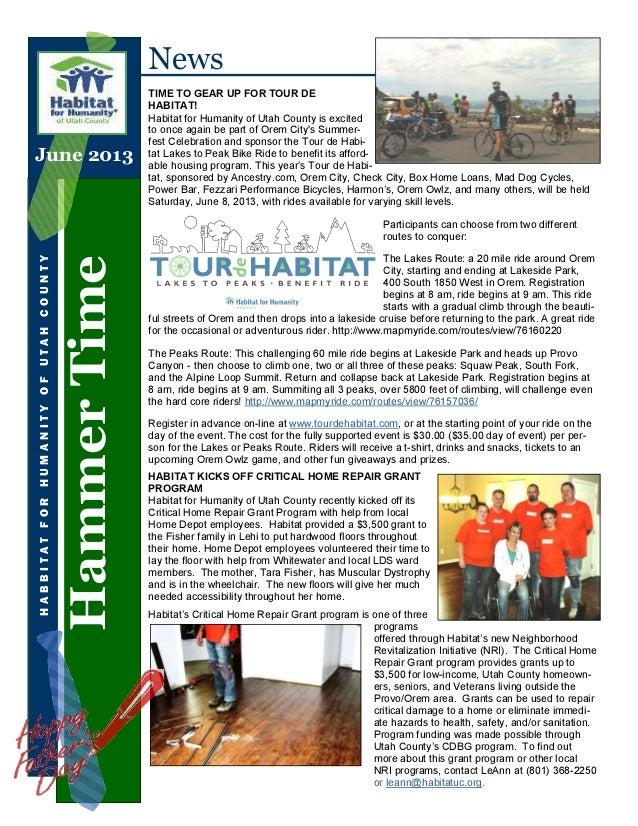HammerTimeHABBITATFORHUMANITYOFUTAHCOUNTYNewsTIME TO GEAR UP FOR TOUR DEHABITAT!Habitat for Humanity of Utah County is exc...