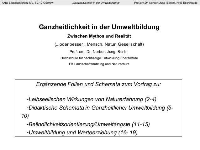 """ANU-Bilanzkonferenz MV, 8.3.12 Güstrow """"Ganzheitlichkeit in der Umweltbildung"""" Prof.em.Dr. Norbert Jung (Berlin), HNE Eber..."""