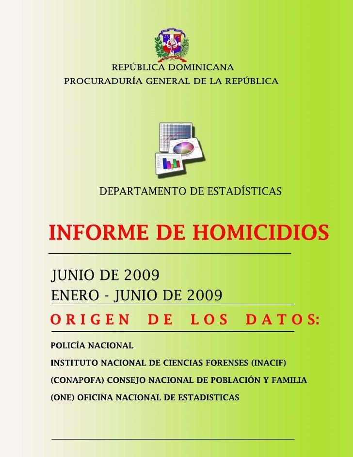 Estadisticas Criminalidad Junio 2009