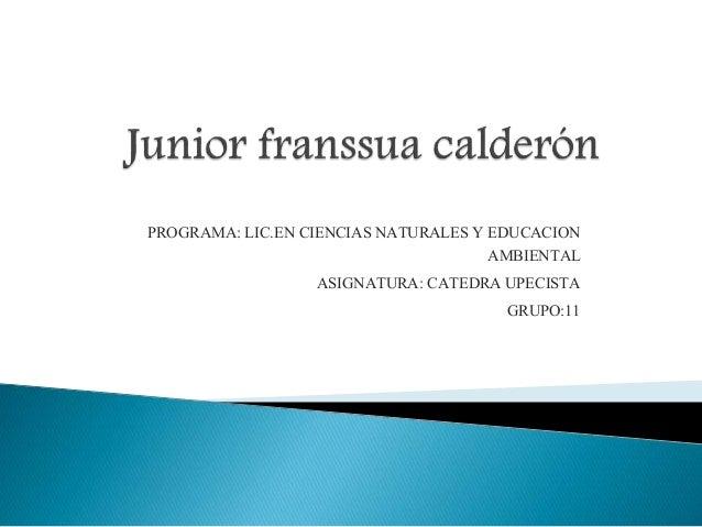 PROGRAMA: LIC.EN CIENCIAS NATURALES Y EDUCACION  AMBIENTAL  ASIGNATURA: CATEDRA UPECISTA  GRUPO:11