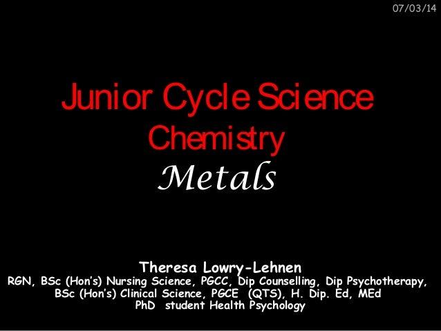 Junior cycle science chemistry metals