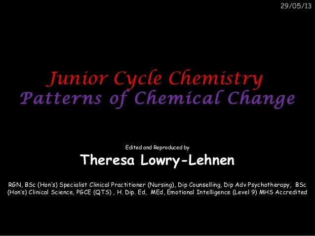 Junior cycle science chemistry patterns of chemical change