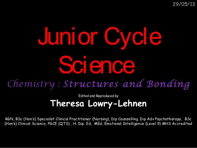 Junior cycle science chemistry structures and bonding