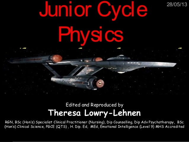 28/05/13Junior CycleJunior CyclePhysicsPhysicsThe Earth and BeyondEdited and Reproduced byTheresa Lowry-LehnenRGN, BSc (Ho...
