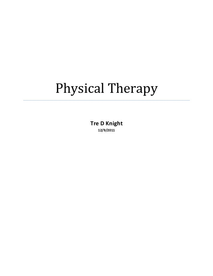Physical Therapy Junior Paper