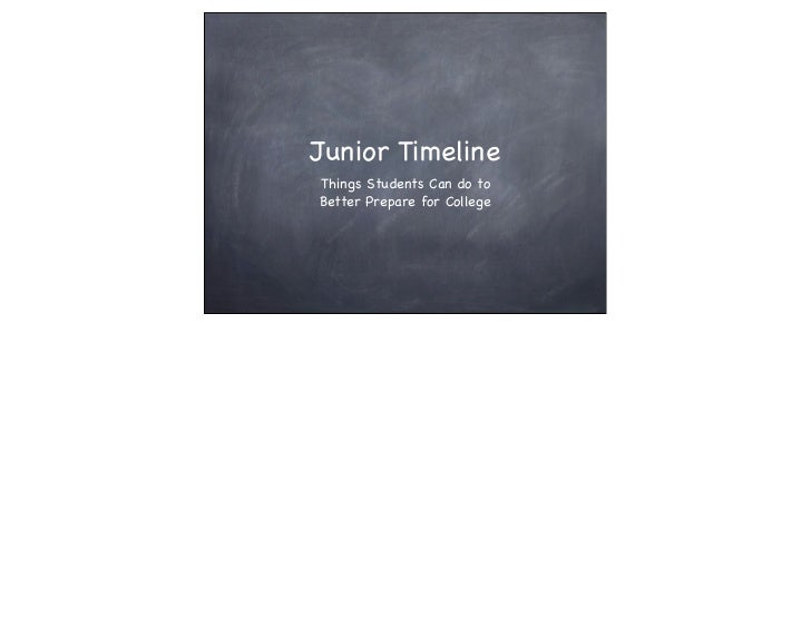 Junior TimelineThings Students Can do toBetter Prepare for College