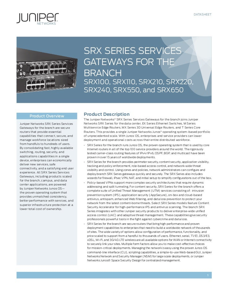Juniper Networks SRX Branch Solutions
