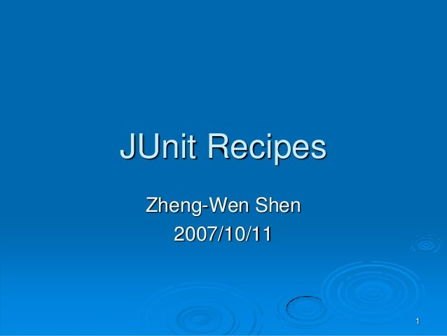 Junit Recipes - Intro