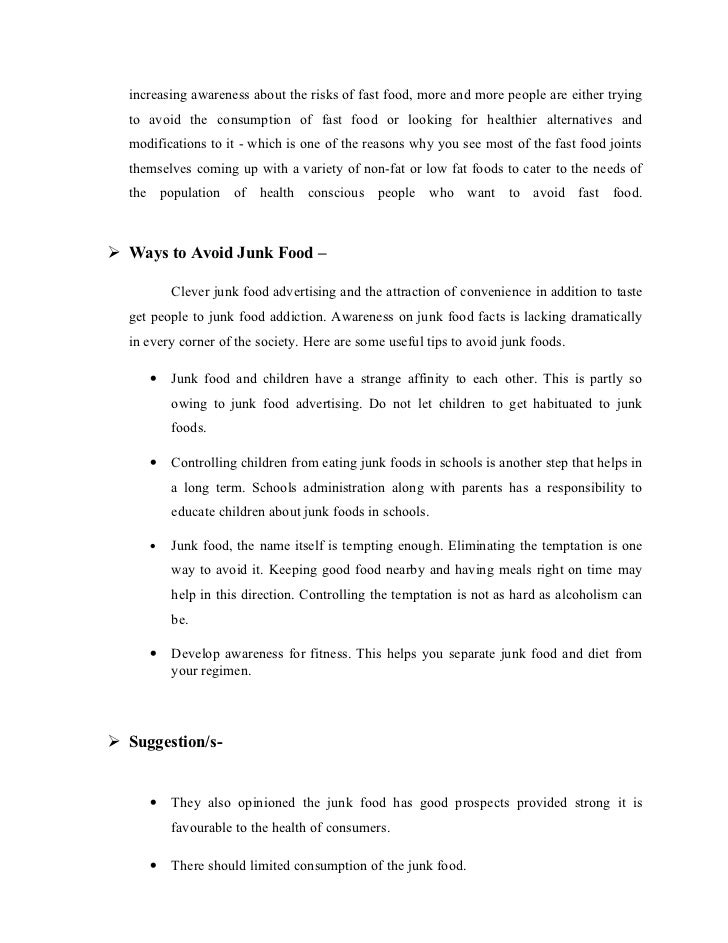 Effect of Junk Food Essay , Article , Speech , Notes