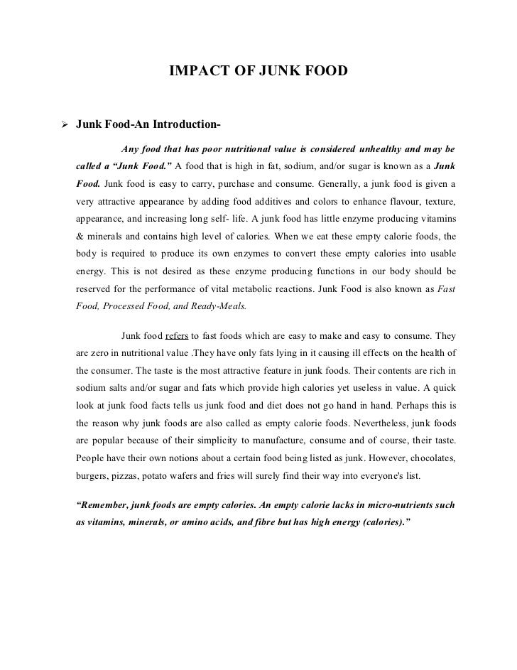 Junk Food Effects: Essay, Speech, Article, Paragraph