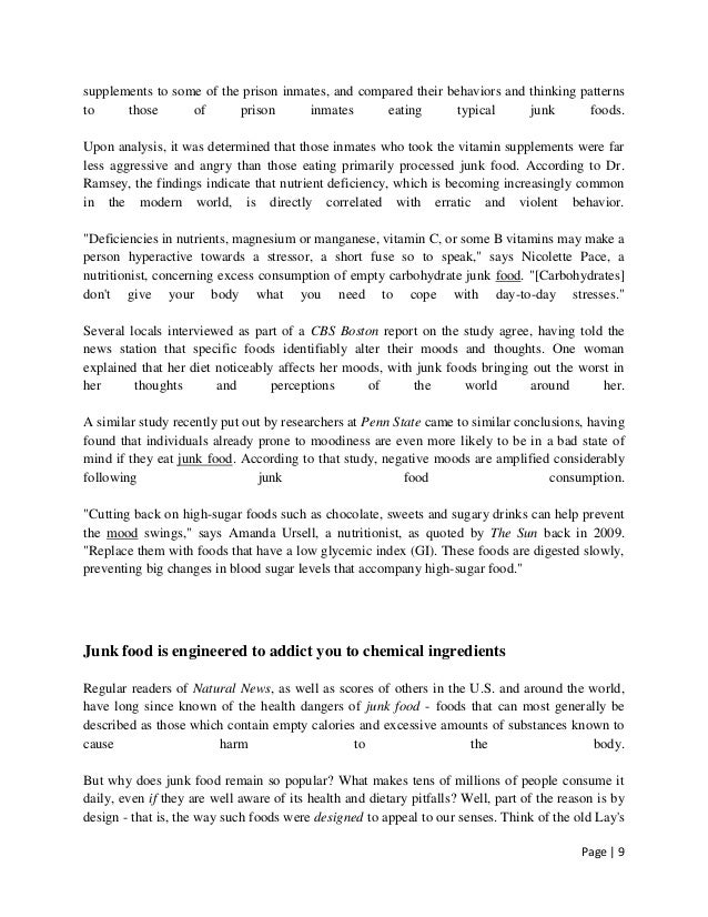essay on ill effects of junk food on health Health 5 negative effects of junk food october 17, 2011 - dr nancy processed and junk food lovers beware there are many negative repercussions to persistent junk.