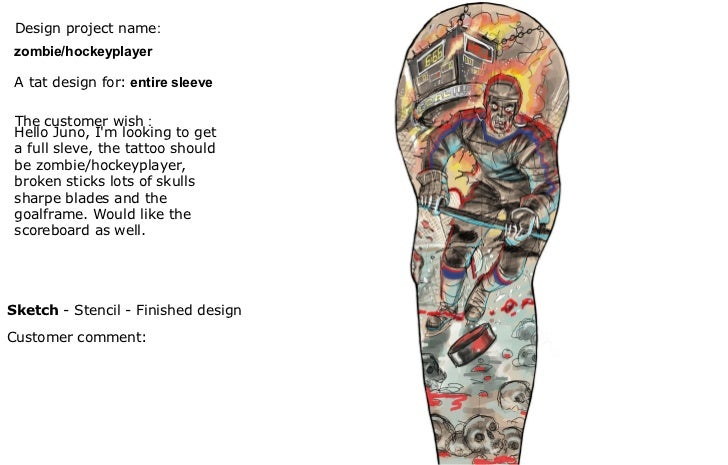 Design project name :  A tat design for:   entire sleeve Sketch  - Stencil - Finished design   The customer wish  :  Hello...