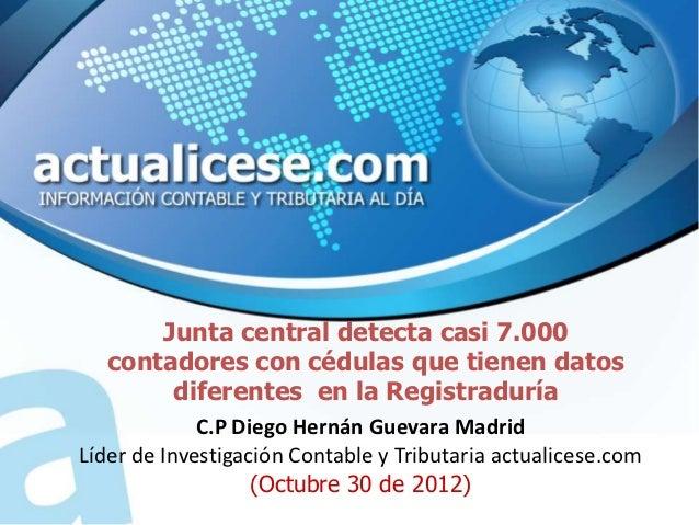Junta central detecta casi 7.000   contadores con cédulas que tienen datos        diferentes en la Registraduría          ...