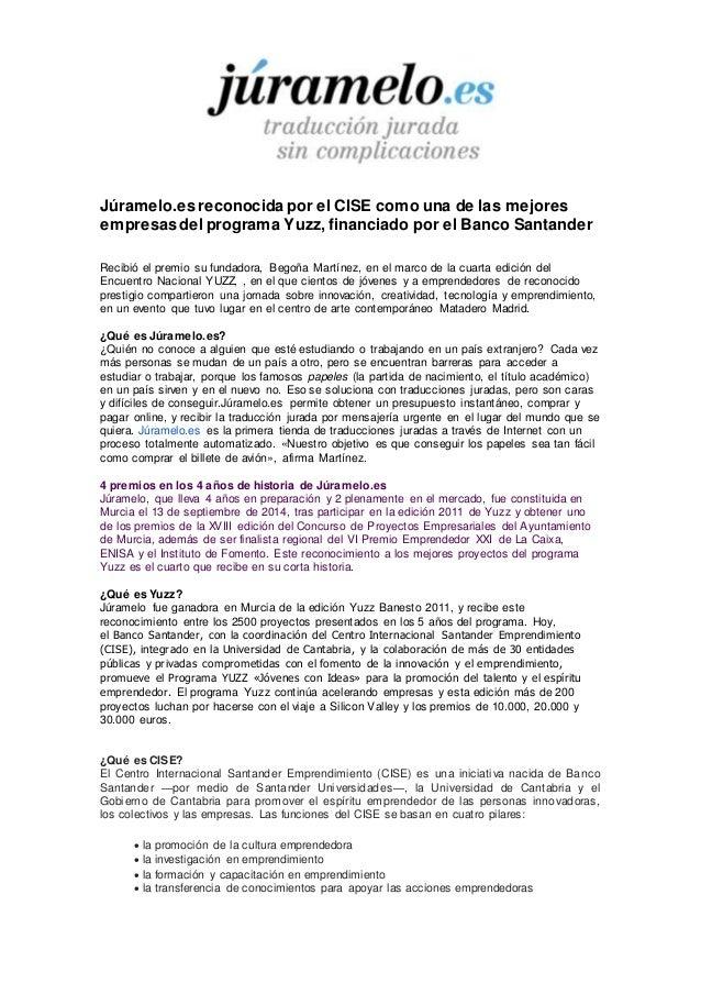 Júramelo.es reconocida por el CISE como una de las mejores  empresas del programa Yuzz, financiado por el Banco Santander ...