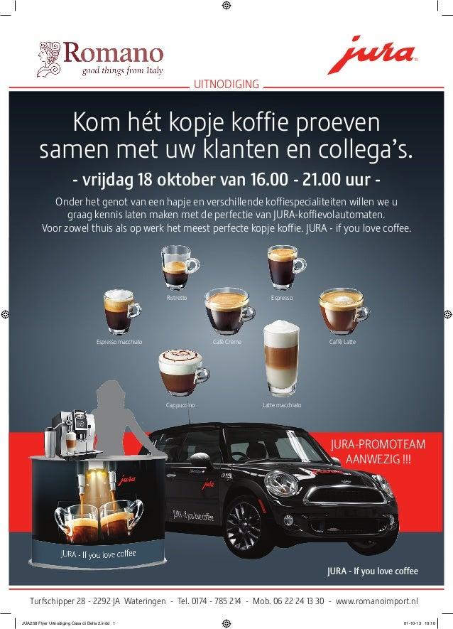 Kom hét kopje koffie proeven samen met uw klanten en collega's. - vrijdag 18 oktober van 16.00 - 21.00 uur - Onder het gen...