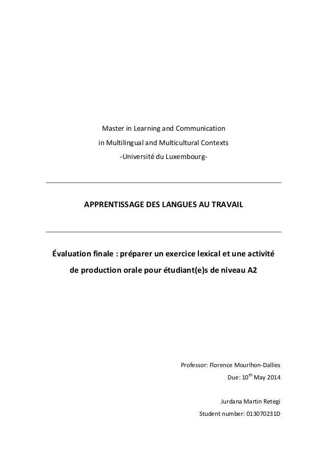 MasterinLearningandCommunication inMultilingualandMulticulturalContexts ‐UniversitéduLuxembourg‐...
