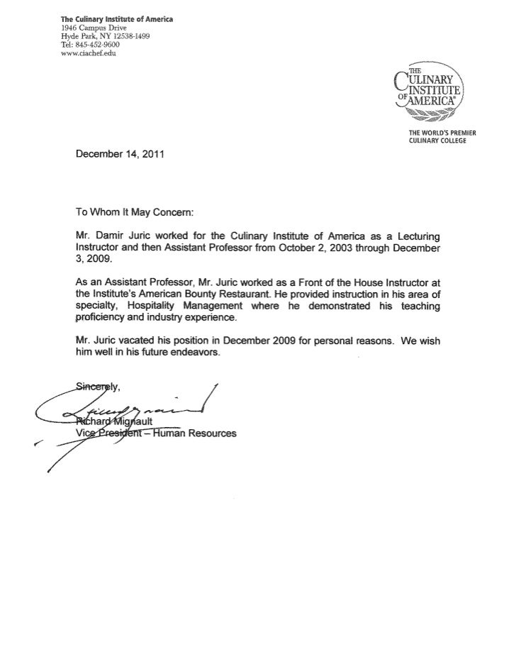 Culinary Letter Of Recommendation