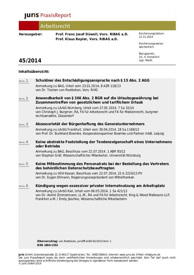 Herausgeber: Prof. Franz Josef Düwell, Vors. RiBAG a.D.  Prof. Klaus Bepler, Vors. RiBAG a.D.  45/2014  Inhaltsübersicht: ...