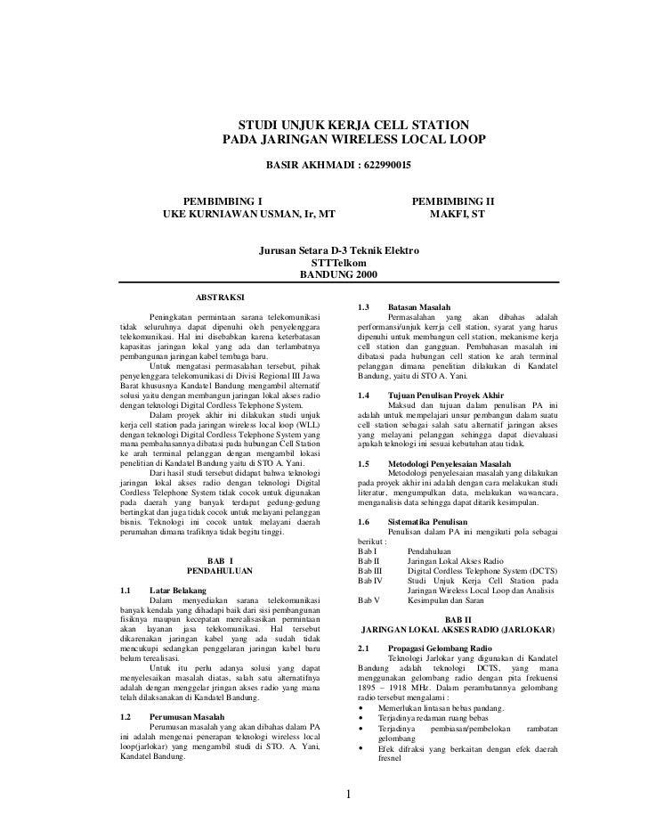 STUDI UNJUK KERJA CELL STATION                             PADA JARINGAN WIRELESS LOCAL LOOP                              ...