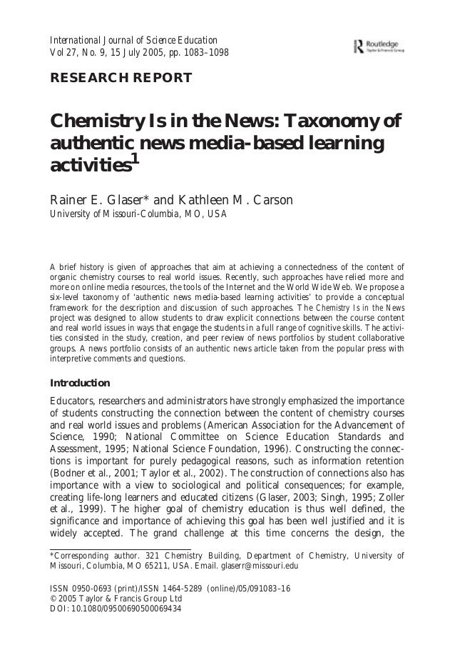 International Journal of Science Education Vol 27, No. 9, 15 July 2005, pp. 1083–1098  RESEARCH REPORT  Chemistry Is in th...
