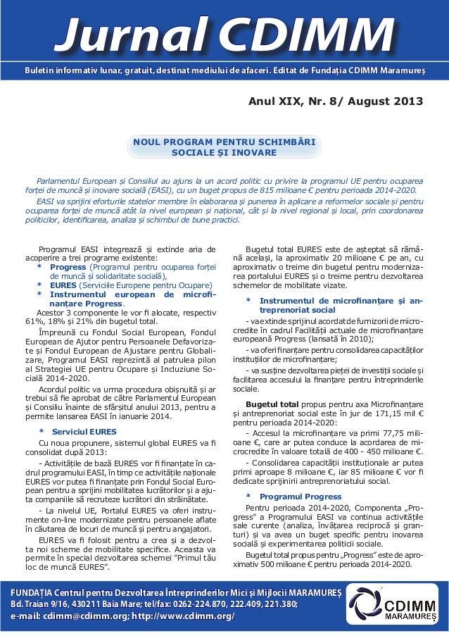Anul XIX, Nr. 8/ August 2013 Jurnal CDIMMBuletin informativ lunar, gratuit, destinat mediului de afaceri. Editat de Fundaţ...