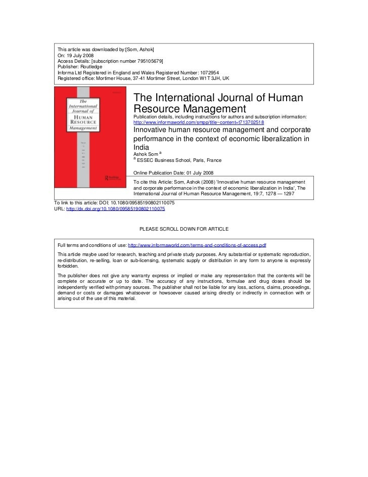 This article was downloaded by:[Som, Ashok] On: 19 July 2008 Access Details: [subscription number 795105679] Publisher: Ro...