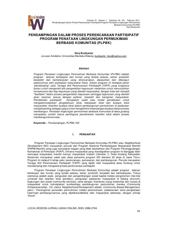 Volume: III, Nomor: I, Halaman: 34 - 40, Februari 2011                     Pendampingan dalam Proses Perencanaan Partisipa...