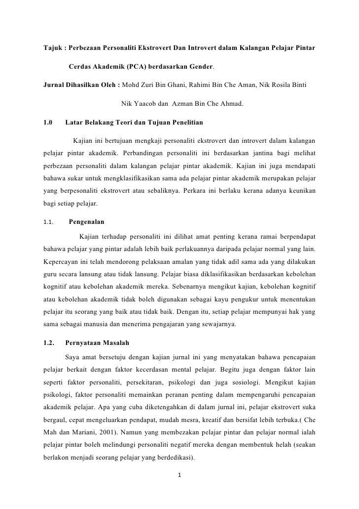 Tajuk : Perbezaan Personaliti Ekstrovert Dan Introvert dalam Kalangan Pelajar Pintar         Cerdas Akademik (PCA) berdasa...