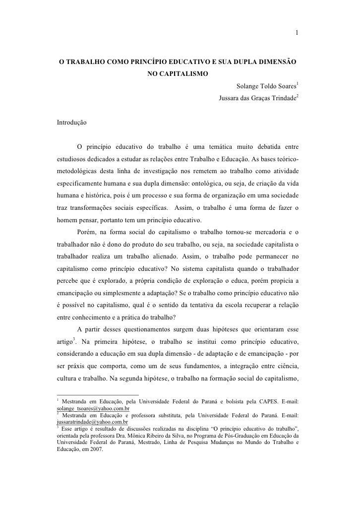 O TRABALHO COMO PRINCÍPIO EDUCATIVO E SUA DUPLA DIMENSÃO NO CAPITALISMO